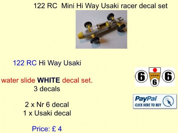 122 Tri-ang RC  Mini Hi Way Usaki racer decal set
